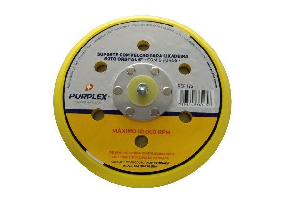 Purplex Suporte p/Disco Lixadeira Roto Orbital Hookit 6 polegadas