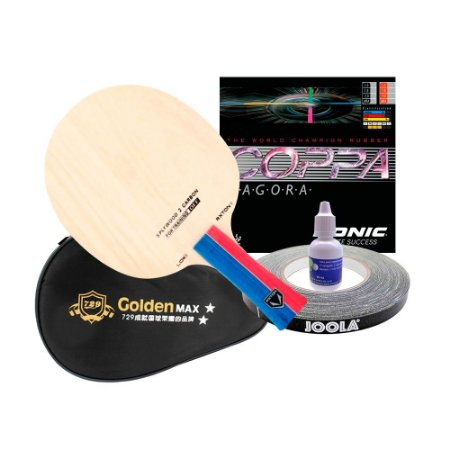 Combo Loky Carbon + Donic Coppa Tagora + Capinha Golden + cola 20ml + side tape