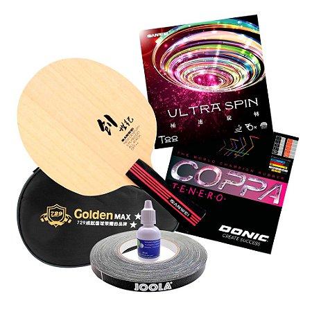 Sanwei New Century + Donic Copa Tenero + Sanwei Ultra Spin + Capinha Golden + cola 20ml + Side tape