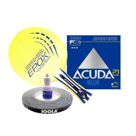 Madeira Donic Topspeed + Donic Acuda P1 + cola 10ml + side tape