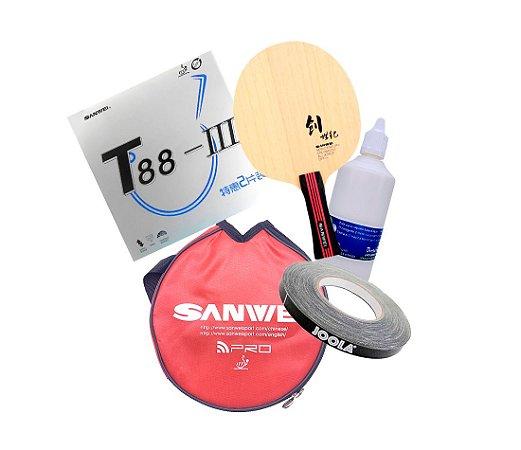 Combo 1 - Borrachas Sanwei T88 III + Madeira New Century Sanwei + montagem + side tape + capinha Sanwei
