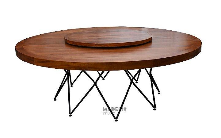Mesa  com prato giratório e de metal