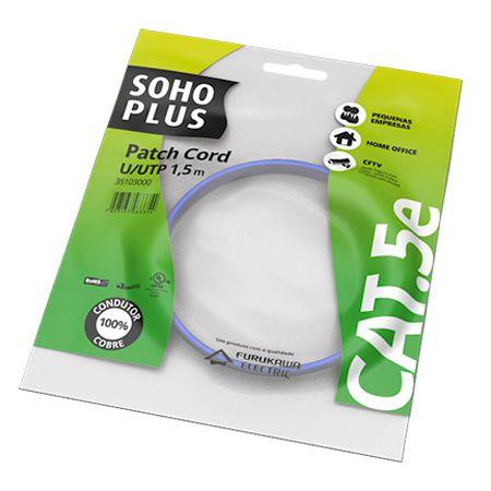 PATCH CORD U/UTP SOHOPLUS CAT.5E - CMX - T568A/B - 1.5M - AZUL CLARO - (UN)