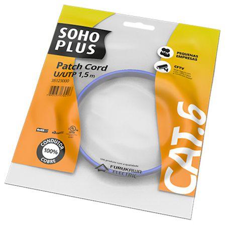PATCH CORD U/UTP SOHOPLUS CAT.6 - CMX - T568A/B - 1.5M - AZUL CLARO - (UN)