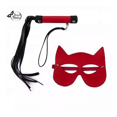 Kit Luxo Máscara Mulher Gato Vermelho