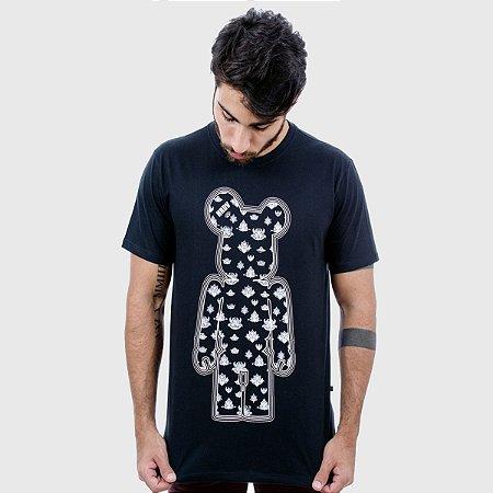 Camiseta Masculina Preta  Manga Curta Indian Hardivision