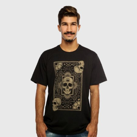 Camiseta Masculina Preta Manga Curta Cards Of Skull Hardivision