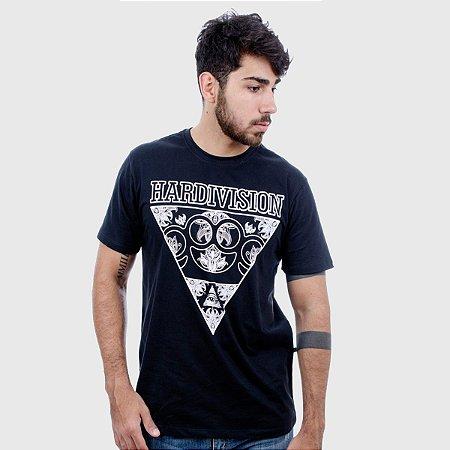 Camiseta Masculina Preta Manga Curta Skateboarder Hardivision