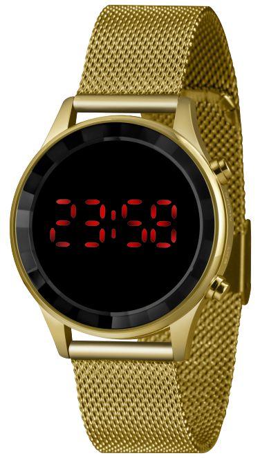 Relógio Lince Feminino Digital Dourado Redondo