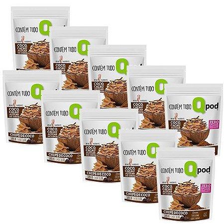 10 Chips de coco assado - Sabor chocolate  - QPod