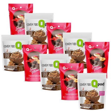 Combo 5 unidades GOOD MOOD + 5 unidades Chips de Coco assado – Sabor Chocolate