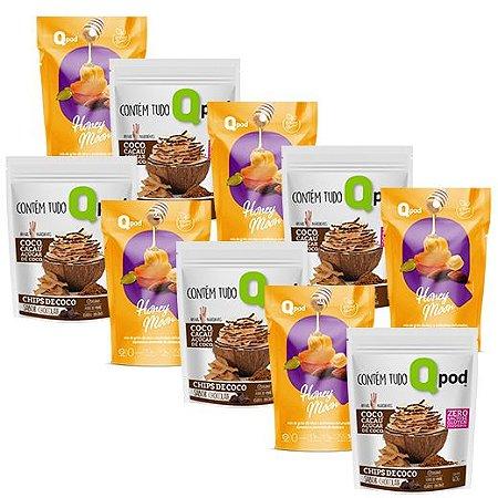 Combo 5 unidades HONEY MOON + 5 unidades Chips de Coco assado – Sabor Chocolate