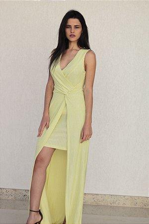 Vestido Longo de Lurex Amarelo Lima Romaria