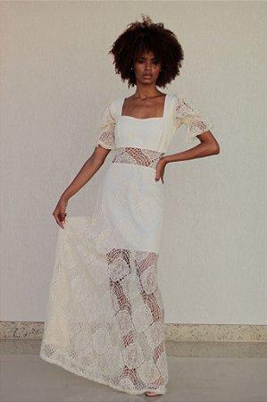 Vestido Longo de Renda Off White