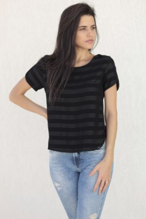 T-shirt Listrada Preta Bana Bana