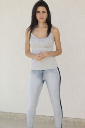 Calça Jeans Skinny Faixa Lateral Azul