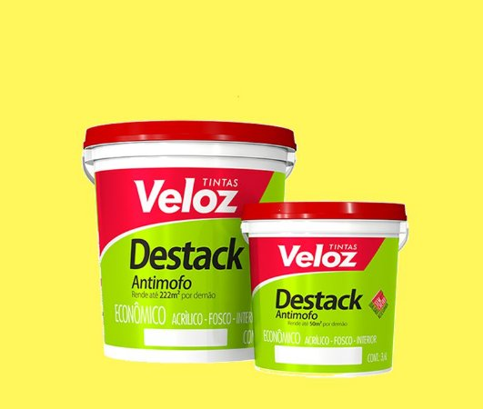 Tinta Acrilica Amarelo Canário Destack Galão com 3,6 litros - Veloz