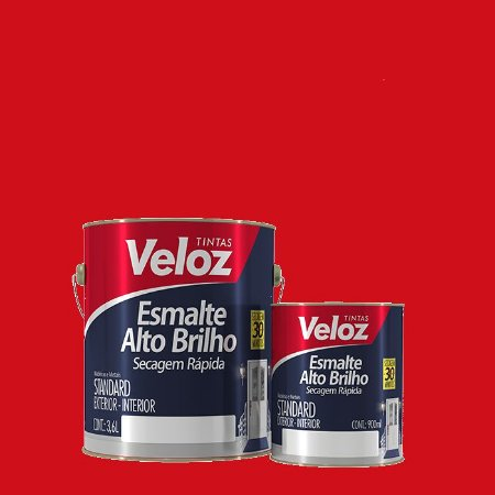 Tinta Esmalte Vermelho Alto Brilho Galão com 3,6 Litros - Veloz