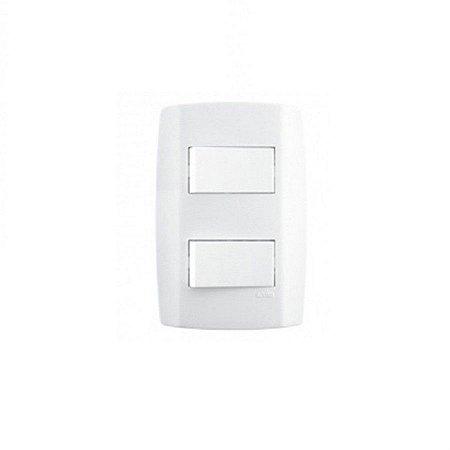 Interruptor duplo 10A horizontal slim - ilumi