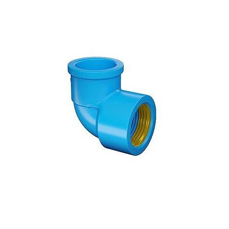 "Joelho 90° azul com bucha latão 25mm x 1/2"" - fortlev"