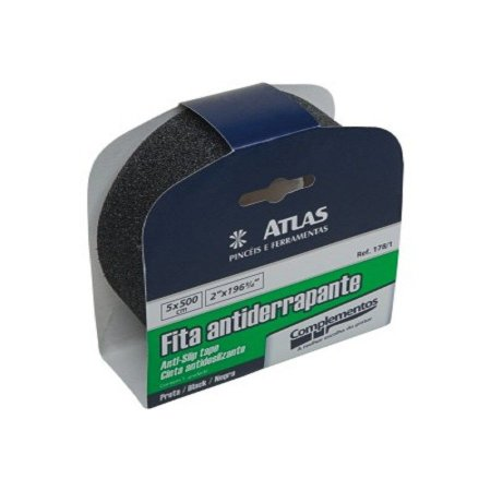 Fita adesiva antiderrapante preta 50mmx5m - atlas