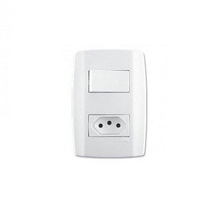 Interruptor + tomada 10A slim - ilumi