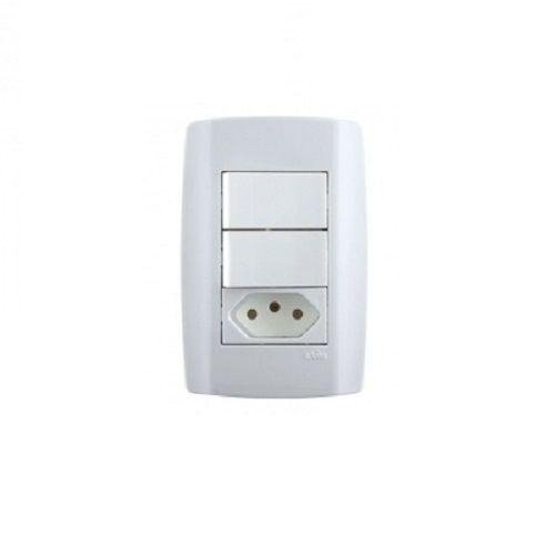Interruptor com 2 teclas + 1 tomada 20A slim - ilumi