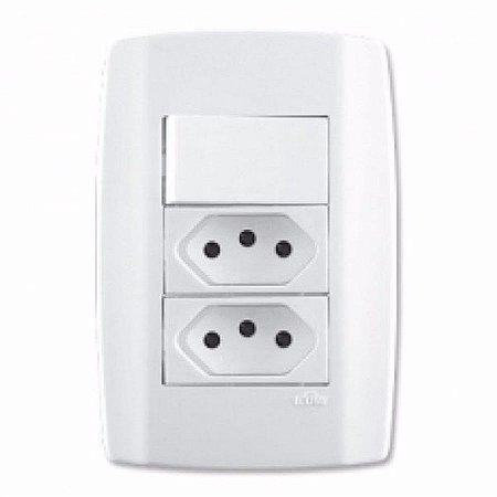 Interruptor + 2 tomada 20A slim - ilumi