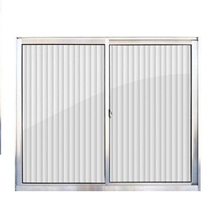 Janela de alumínio 1,00m alt. X 1,00m lar. 2 folhas com vidro canelado - Quality