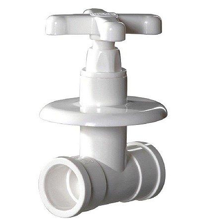 Registro  plástico de pressão com canopla prático 20mm branco  - herc