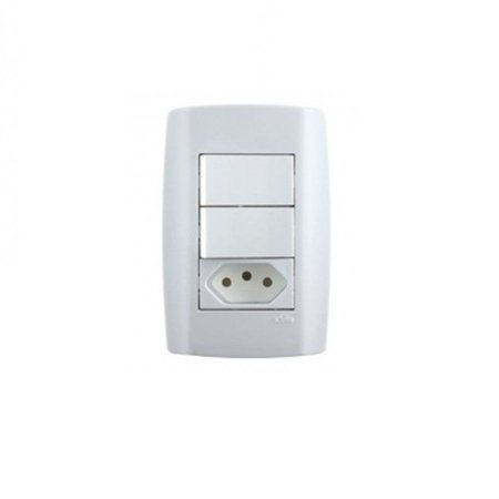 Interruptor com 2 teclas + 1 tomada 10A slim - ilumi