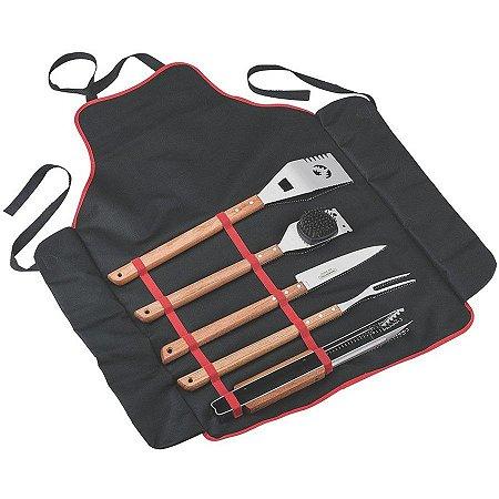 Kit para churrasco madeira com estojo/avental de nylon 6 peças - tramontina