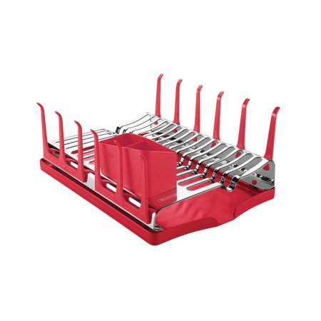 Escorredor de louça aço inox com bandeja coletora vermelha - tramontina