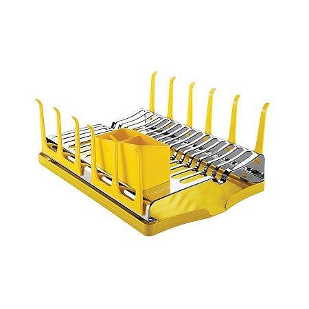 Escorredor de louça aço inox com bandeja coletora amarela - tramontina