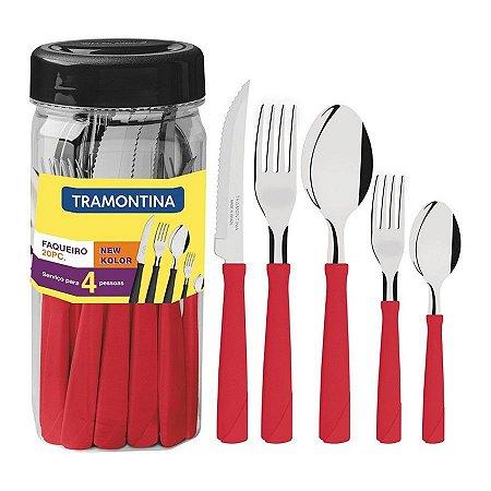 Faqueiro com facas para churrasco 20 peças vermelho - tramontina