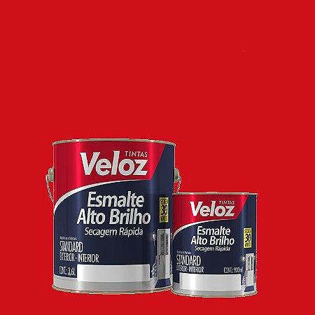 Tinta Esmalte Vermelho Alto Brilho 1/4 com 900ml - Veloz