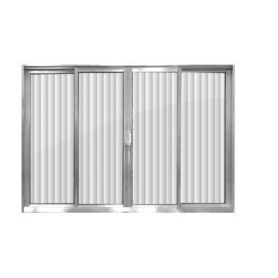 Janela de aluminio 4 folhas alt.1,00x1,20lar. vidro canelado - Indimel