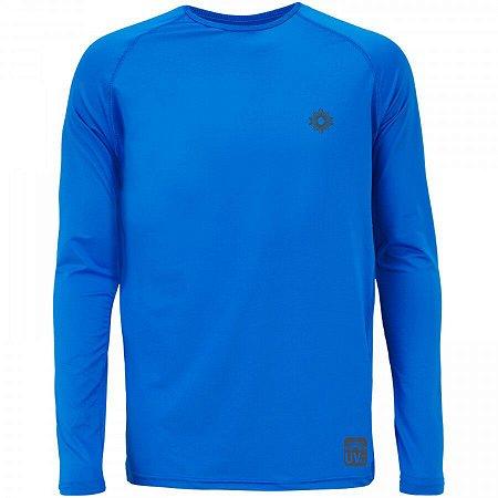Camiseta Manga Longa Adulta com Filtro Solar Azul Royal