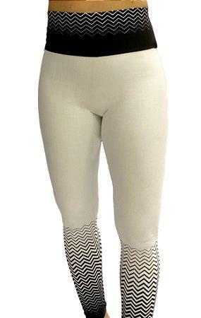 Calça Legging Zig Zag branco com preto