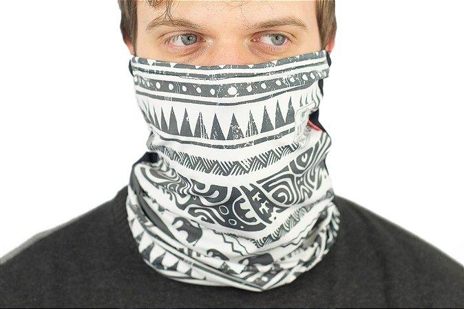 Bala Clava, bandana ou máscara antiviral Preto e estampa Tribal