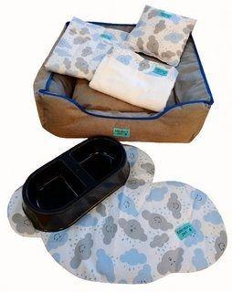 Kit Pet Cama Colchonete Toalha 6 Peças G Azul 70x70 Noblesse
