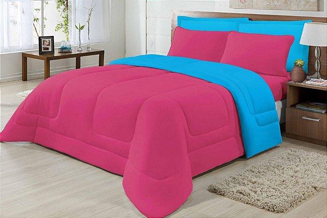Edredom Casal Malha Algodão Dupla Face Pink E Azul Turquesa