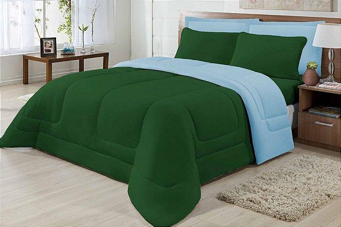 Edredom Casal Malha Algodão Dupla Face Verde E Azul Claro