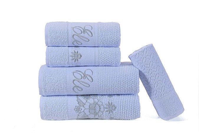 Kit Toalhas de Banho Bordados Noblesse 5 Peças Branco