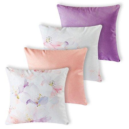 Kit 4 capas de Almofada Suede 40x40 Lilas Floral Velvet
