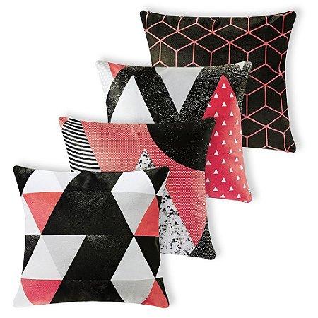 Kit 4 capas Almofada Suede 40x40 Vermelho Geometrico Velvet