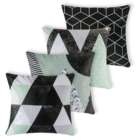 Kit 4 capas de Almofada Suede 40x40 Verde Geometrico Velvet