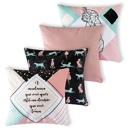 Kit 4 capas de Almofada Suede 40x40 Flamingo Azul Velvet
