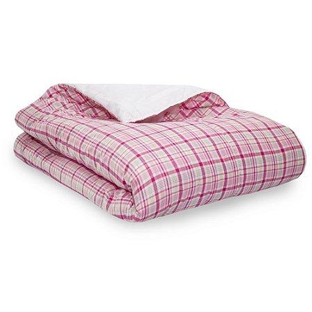 Edredom Avulso Cama Solteiro Moderninhos Xadrez rosa