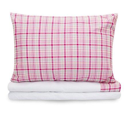 Jogo de lençol Moderninhos Solteiro 3 Peças Xadrez Rosa